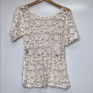 VINTAGE Beige Crochet Back Button Open Top Blouse